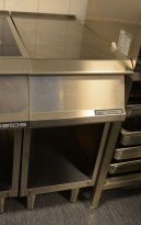 Arbeidsbenk / blindmodul 40cm bredde i rustfritt stål fra Metos, 77cm dybde, 92cm høyde, pent brukt