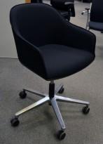 Vitra Softshell konferansestol på hjul NYTRUKKET i sort / polert aluminium, pent brukt