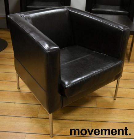 Loungestol / lenestol fra IKEA, Klappsta i sort skinn, pent brukt bilde 1