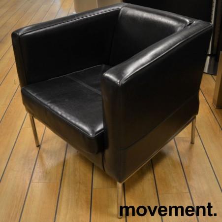 Loungestol / lenestol fra IKEA, Klappsta i sort skinn, pent brukt bilde 2