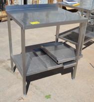 Arbeidsbenk i rustfritt stål 77cm bredde, 65cm dybde, 90cm høyde, pent brukt