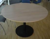 Rundt møtebord / kantinebord i hvitpigmentert eik laminat / sort, Ø=120cm, høyde 73cm, pent brukt