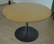 Rundt møtebord / kantinebord i bjerk / sort, Ø=100cm, høyde 73cm, brukt