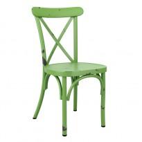 Kafestol / stol for uteservering i aluminium, grønn, vintage-look, pent brukt