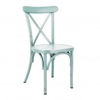 Kafestol / stol for uteservering i aluminium, turkis, vintage-look, pent brukt