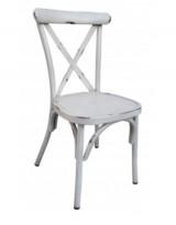 Kafestol / stol for uteservering i aluminium, hvit, vintage-look, pent brukt