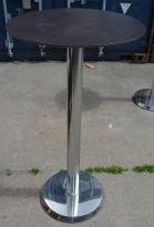 Ståbord / barbord med rund bordplate i mørk trefarge, Ø=60cm, understell i krom, noe slitasje