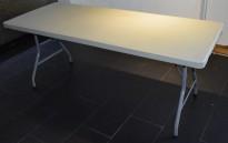 Sammenleggbare, rektangulære plastbord 180x75cm fra Zown/O.B. Wiik, pent brukte