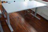 Elektrisk hevsenk skrivebord, lys grå bordplate 160x80cm, grått understell, pent brukt
