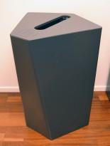 Søppelbøtte / papirkurv / kildesortering for papir i grålakkert metall, pent brukt