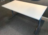 Skrivebord med elektrisk hevsenk fra Linak 160x80cm, hvit / grå, pent brukt