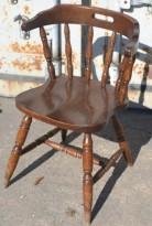 Konferansestol i brunbeiset treverk, retro / vintage, brukt