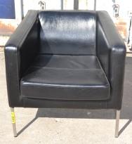 Loungestol / lenestol fra IKEA, Klappsta i sort skinn, brukt med noe bruksslitasje