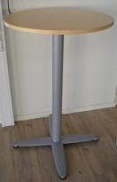 Barbord / ståbord i bjerk / grålakkert metall fra Kinnarps, T-serie, Ø=70cm, høyde 110cm, pent brukt