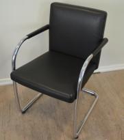 Vitra Visasoft konferansestol / besøksstol i sort skinn / krom, pent brukt
