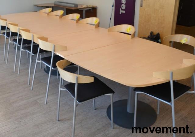Kinnarps E-serie konferansebord / møtebord i bjerk / grått understell, 440x120cm passer 14-16 personer, pent brukt bilde 1