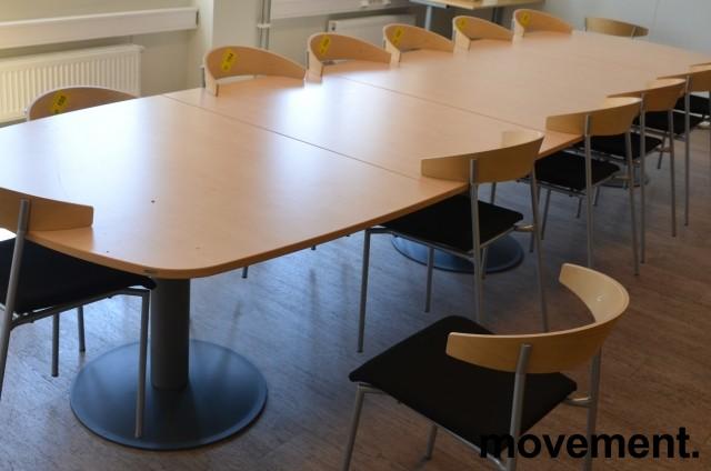 Kinnarps E-serie konferansebord / møtebord i bjerk / grått understell, 440x120cm passer 14-16 personer, pent brukt bilde 2