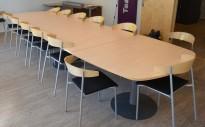 Kinnarps E-serie konferansebord / møtebord i bjerk / grått understell, 440x120cm passer 14-16 personer, pent brukt