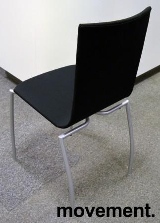 Kinnarps Citra konferansestol / kantinestol / stablestol, nytrukket i sort stoff / grått understell, NYTRUKKET bilde 2