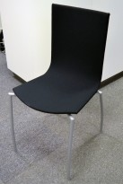 Kinnarps Citra konferansestol / kantinestol / stablestol, nytrukket i sort stoff / grått understell, NYTRUKKET