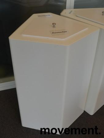 Søppelbøtte / papirkurv / kildesortering for restavfall i hvitlakkert metall fra Trece, pent brukt bilde 1