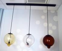 Taklampe, Cappellini Meltdown Lamp, 3 glasskupler / pendellamper på skinne, farge: gul, klar, brun, pent brukt