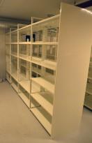 Lagerreol / stålreol i hvitt, høyde: 217cm, lengde 400cm, 4 doble fag, total dybde 68cm, se deler i tekst, pent brukt