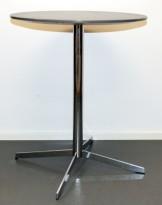 Lite, rundt møtebord i grått / krom, Ø=60cm, H=73cm pent brukt
