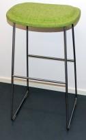 Cappellini Hi-Pad Stool, design Jasper Morrison, barkrakk i grønnmelert stoff, sittehøyde 80cm, pent brukt