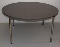 Rundt møtebord i grått, FourDesign, med sammenleggbare ben i krom, Ø=140 cm, pent brukt