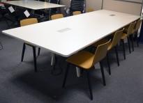 Møtebord / konferansebord i hvitt fra Vitra, Joyn 320x120cm, passer 10-12 personer, pent brukt