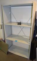 Stålhylle i grålakkert stål, 105cm bredde, 50cm dybde, 190,5cm høyde, 4 stk 100x50 hyller, pent brukt