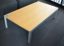 Loungebord i eik / aluminium 130x70cm, høyde 34cm, pent brukt
