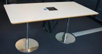 Kompakt møtebord i hvitt med lakkert MDF kant / krom, 160x80cm, 4-6 personer, pent brukt