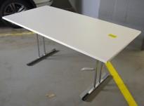 Klappbord / sammenleggbart kursbord / arbeidsbord i hvitt/krom fra RBM, 160x80cm, brukt
