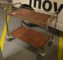 Plukktralle / lagertralle med 2 hylleplan i rustfritt stål / valnøttfiner, 100x55cm, brukt