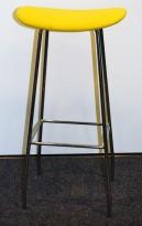 Barkrakk / barstol, Cornflake fra OFFECCT, gult stoffsete / krom understell, 81cm høyde, pent brukt