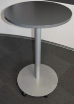 Ståbord på hjul med rund plate Ø=70cm, 110cm høyde, Duba-B8, Grå plate, grått understell, pent brukt