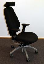 Kontorstol: RH-stolen RH Logic i sort, Høy rygg, armlener, nakkepute, pent brukt