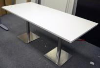 Kompakt møtebord / kantinebord i hvitt / krom, 180x80cm, passer 6 personer, pent brukt understell med ny plate