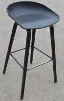 Barkrakk / barstol Hay About a stool i sort, sittehøyde 74cm (høy modell), brukt