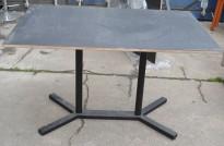 Kafebord med plate i sort, sort understell, 122x80cm, brukt