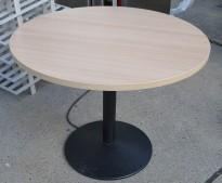 Rundt møtebord / kantinebord i hvitpigmentert eik laminat / sort, Ø=100cm, høyde 76cm, pent brukt