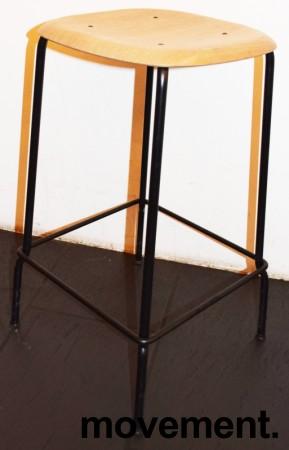 Stablebar barkrakk i eik / sortlakkert understell, sittehøyde 66cm, pent brukt bilde 1