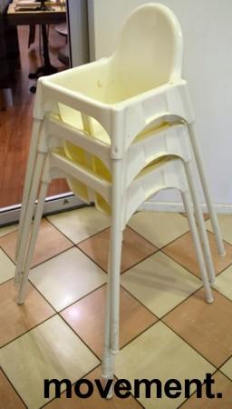 Barnestol / babystol, modell ANTILOP fra Ikea, hvit med hvite ben, brukt