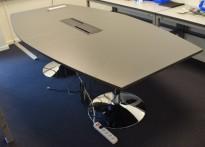 Møtebord i grått / krom fra AJ Produkter, 240x120cm, passer for 8-10 personer, pent brukt