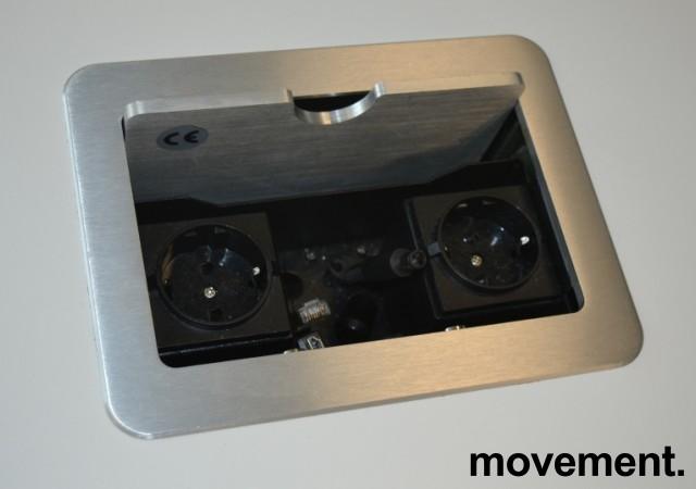Rundt møtebord i hvitt / grått fra Karl Andersson & Söner, modell Hide med kabelboks, design: WIS Design, Ø=100cm, pent brukt bilde 2