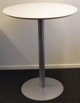 Rundt ståbord / høyt møtebord fra Duba B8, hvit plate, grått understell, Ø=90cm, H=110cm, pent brukt