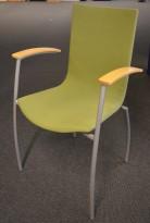 Kinnarps konferansestol i grønt stoff, Citra med armlener i bøk, brukt