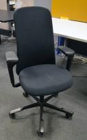 HÅG Sofi kontorstol i koksgrått stoff, armlene og høy rygg, pent brukt